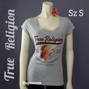 True Religion Tee Shirt Bling Graphic Logo